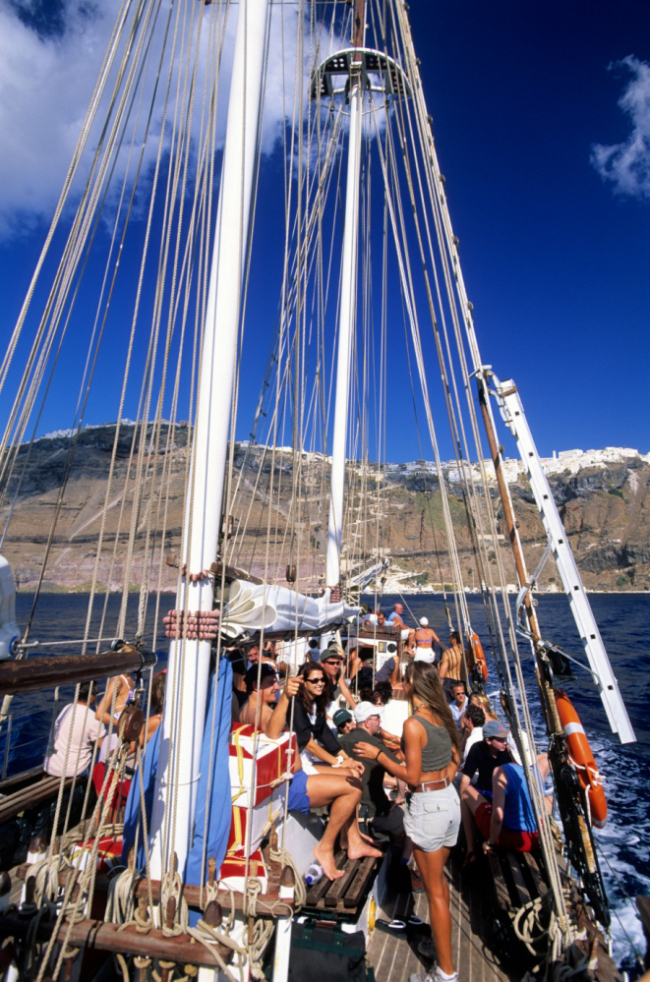 AP3ERB Sailing ship excursion Santorini Cyclades Greek Islands Greece