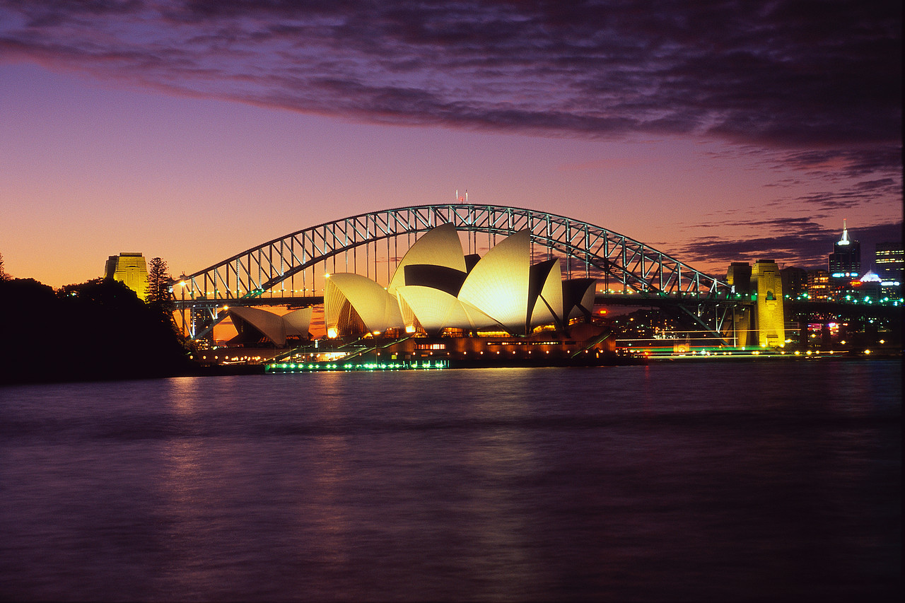 Sydney Opera House and Sydney Harbour Bridge at Dusk